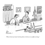 """What I drink and what I tell the pollsters I drink are two different things."" - New Yorker Cartoon Premium Giclee Print by Leo Cullum"