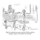 """Before I read about my summer vacation, I'd like to ask that all pagers, …"" - New Yorker Cartoon Premium Giclee Print by Danny Shanahan"