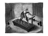 A man on a treadmill filled with hot coals - New Yorker Cartoon Premium Giclee Print by John O'brien