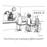 """Can I interest you in opening an offshore account?"" - New Yorker Cartoon Premium Giclee Print by Zachary Kanin"