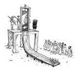 Executioner is about to chop off man's head with guillotine; when the pris… - New Yorker Cartoon Premium Giclee Print by George Booth
