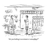 """""""Are you looking to accentuate or camouflage?"""" - New Yorker Cartoon Premium Giclee Print by Barbara Smaller"""