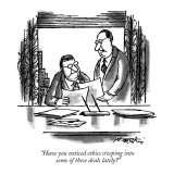 """Have you noticed ethics creeping into some of these deals lately?"" - New Yorker Cartoon Premium Giclee Print by Henry Martin"