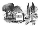 Headstone in a cemetery with a U.P.C. bar code on it. - New Yorker Cartoon Premium Giclee Print by Warren Miller
