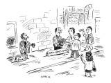 Two beggars side-by-side on the street. One has a sign reading 'Spare a di… - New Yorker Cartoon Premium Giclee Print by David Sipress