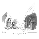 """I'm waiting for it to defrost."" - New Yorker Cartoon Premium Giclee Print by Zachary Kanin"