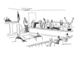 Jury spells out 'guilty' with their bodies. - New Yorker Cartoon Premium Giclee Print by Nick Downes
