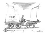 Man riding in horse drawn covered wagon with sign that reads; 'Y2K Solutions…' - Cartoon Premium Giclee Print by Mick Stevens