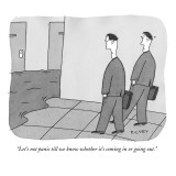 """Let's not panic till we know whether it's coming in or going out."" - New Yorker Cartoon Premium Giclee Print by Peter C. Vey"