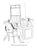 """What's the purpose of this loan?  Fun."" - New Yorker Cartoon Premium Giclee Print by Richard Cline"