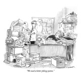 """We need a better piling system."" - New Yorker Cartoon Premium Giclee Print by Pat Byrnes"