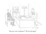 """Hey, how come no diplomas?"" ""Oh, I'm self-taught."" - New Yorker Cartoon Premium Giclee Print by Robert Mankoff"