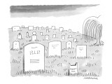 """A tombstone in a cemetery has cat ears, and reads """"Meow!"""" instead of """"R.I.P.!"""" - New Yorker Cartoon Premium Giclee Print by Mick Stevens"""