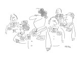People mingling at cocktail party, all wearing name tags. One man's name t… - New Yorker Cartoon Premium Giclee Print by Dean Vietor