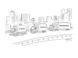 "Three trucks, one labeled ""Coffee"", the next ""Danish"" and the last ""The Ne… - New Yorker Cartoon Premium Giclee Print by Dean Vietor"