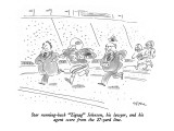 "Star running-back ""Zigzag"" Johnson, his lawyer, and his agent score from t… - New Yorker Cartoon Premium Giclee Print by Dean Vietor"