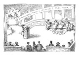 "In a restaurant, a group of people stand, as the maitre d' says ""Donner pa… - New Yorker Cartoon Premium Giclee Print by John O'brien"