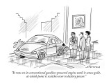 """It runs on its conventional gasoline-powered engine until it senses guilt…"" - New Yorker Cartoon Premium Giclee Print by Mick Stevens"
