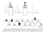 """That's an excellent prescreened question, but before I give you my stock …"" - New Yorker Cartoon Premium Giclee Print by Alex Gregory"
