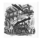 Streamlined hood is being put on an old steam engine. - New Yorker Cartoon Premium Giclee Print by Alan Dunn