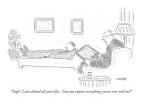 """Oops!  I just deleted all your files.  Can you repeat everything you've e…"" - New Yorker Cartoon Premium Giclee Print by Robert Mankoff"