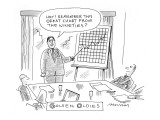 A board member displays an upward-trending financial chart. - New Yorker Cartoon Premium Giclee Print by Mick Stevens
