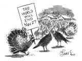 "Turkey with sign: ""The World Will End Nov. 27"" - New Yorker Cartoon Premium Giclee Print by Edward Frascino"