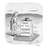 A woman stands in front of a tomb with a bowl on top of it.  - New Yorker Cartoon Premium Giclee Print by Roz Chast
