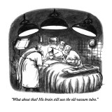 """What about that! His brain still uses the old vacuum tubes."" - New Yorker Cartoon Premium Giclee Print by Frank Cotham"