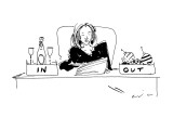 Woman with champagne in her 'in' box, and christmas ornaments in her 'out'… - New Yorker Cartoon Premium Giclee Print by Richard Cline