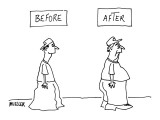 Before and After: - New Yorker Cartoon Premium Giclee Print by Peter Mueller
