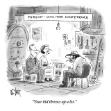 """""""Your kid throws up a lot."""" - New Yorker Cartoon Premium Giclee Print by Christopher Weyant"""