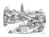 """Sign """"Entering The National Junk Food Reserve"""" with lots of fast food plac… - New Yorker Cartoon Premium Giclee Print by Ed Fisher"""