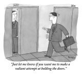 """""""Just let me know if you want me to make a valiant attempt at holding the …"""" - New Yorker Cartoon Premium Giclee Print by Peter C. Vey"""