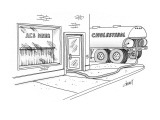 Cholesterol truck with pipe leading into diner. - New Yorker Cartoon Premium Giclee Print by Tom Cheney