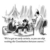 """""""We've got an early curtain, so you can skip reciting the Constitution bet…"""" - New Yorker Cartoon Premium Giclee Print by Lee Lorenz"""