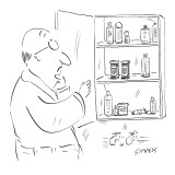 Man looking in medicine cabinet, deciding between pill bottles labeled wit… - New Yorker Cartoon Premium Giclee Print by David Sipress