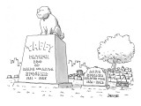 Huge tombstone for family dog, Taffy, stands next to smaller stone for wif… - New Yorker Cartoon Premium Giclee Print by Jack Ziegler