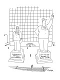 Statues of two different men that have engravings in the base.The first on… - New Yorker Cartoon Premium Giclee Print by Jack Ziegler