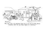 """""""We can't come to an agreement about how to fix your car, Mr. Simons.  Som…"""" - New Yorker Cartoon Premium Giclee Print by J.B. Handelsman"""