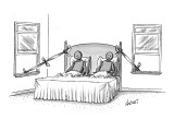 Husband and wife have escaped via tied sheet from master bedroom window an… - New Yorker Cartoon Premium Giclee Print by Tom Cheney