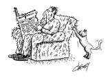 A man sits in a chair reading a newspaper. Behind him a cat is maliciously… - New Yorker Cartoon Premium Giclee Print by Tom Cheney