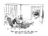 """Here comes our first V.P., Mrs. Byers, now.  Mrs. Byers is results-oriented."" - New Yorker Cartoon Premium Giclee Print by George Booth"