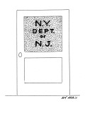 A door sign reads: 'N.Y. Dept. of N.J.' - New Yorker Cartoon Premium Giclee Print by Ed Arno