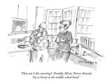 """How am I this morning?  Frankly, Mister Never-Around, I'm as horny as the…"" - New Yorker Cartoon Premium Giclee Print by Michael Crawford"
