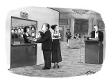 Couple leaves their small boy at a booth near host's station at restaurant… - New Yorker Cartoon Premium Giclee Print by Harry Bliss