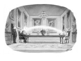 Woman at end of long dinner table flicks a piece of food with her spoon an… - New Yorker Cartoon Premium Giclee Print by Harry Bliss