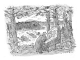 Two bears play a salmon-run-themed pinball machine outdoors in the woods, … - New Yorker Cartoon Premium Giclee Print by Bill Woodman