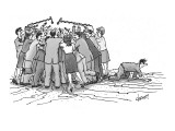 Man crawling out from mob of media people. - New Yorker Cartoon Premium Giclee Print by Tom Cheney
