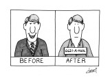 "Picture of man ""Before"" smiling, and ""After"" in jail clothes with number. - New Yorker Cartoon Premium Giclee Print by Tom Cheney"
